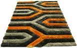 3d grey orange rug