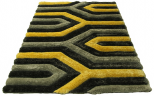 3d grey yellow rug
