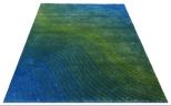 textured blue green rug