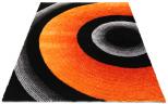 textured orange grey black rug