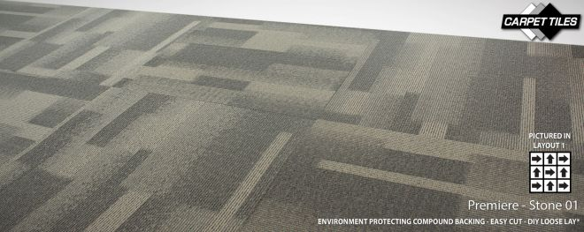 PREMIERE wholesale nylon carpet tile Stone grey 01