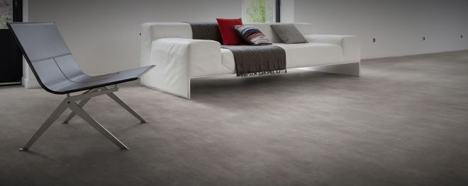 Polished concrete style cushion backed vinyl sheet flooring by Gerfloor