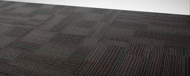 GP ULTRA CARPET TILE GREY WITH EMRALD GREEN CUSHION BACK NYLON FIRE RATED 2