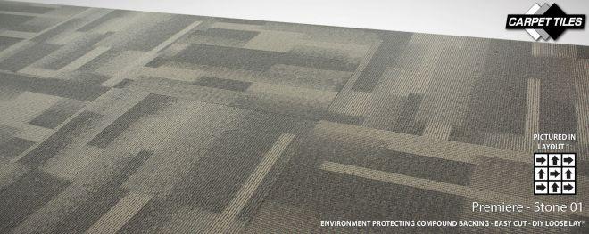 PREMIERE wholesale nylon carpet tile Stone grey 01