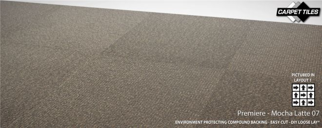 PREMIERE wholesale nylon carpet tile mocha latte 07u